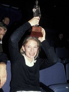 Cate Blanchett holds her Sydney Theatre Critics's Circle Award for Best Newcomer, 1994.