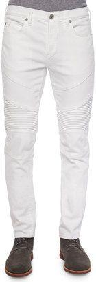 True Religion Geno Distressed Moto Jeans, White