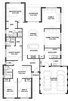 Kids wing and scullery/laundry located near garage Home Design Floor Plans, Dream Home Design, Plan Design, My Dream Home, House Design, Best House Plans, Dream House Plans, House Floor Plans, House Layout Plans