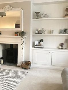 Most current Screen Fireplace Mantels with bookshelves Popular Front room accessories 1930s Living Room, Living Room Grey, Home Living Room, Living Room Decor, Dining Room, Alcove Ideas Living Room, Living Room Designs, Front Room Ideas Cosy, Fireplace Shelves