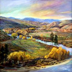 Wenatchee River Fall Gold, Jan Cook Mack Columbia, The 100, Cook, River, Oil Paintings, Places, Cities, Art Ideas, Washington