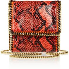 Stella McCartney Falabella small faux python shoulder bag ($415) ❤ liked on Polyvore featuring bags, handbags, shoulder bags, purses, clutches, bolsas, gold shoulder bag, red shoulder bag, stella mccartney handbags and red purse