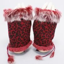 RED WITH BLACK LEOPARD PRINT FAUX FUR FINGERLESS GLOVES