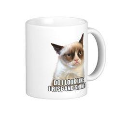 """Grumpy Cat Mug """"Do I look like I rise and shine?"""" $17.95"""