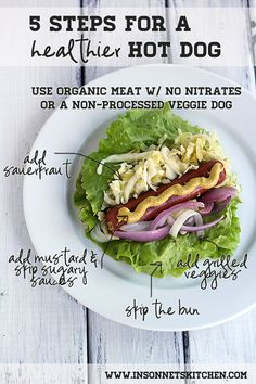 5 Steps for a Healthier Hot Dog -never thought to try a hotdog as a lettuce wrap, with sauerkraut, that sounds good!