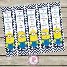 Free Minion Thanks a Minion for coming to my party bookmarks.  #Minion #Freebie