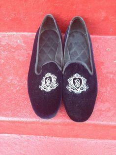 5755c311e57 VTG Victoria s Secret Slippers Loafers Velvet Navy Blue US Women s Shoe  Size 10  VictoriasSecret