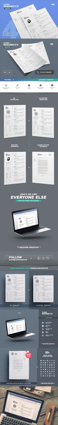 Clean Resume/Cv Template Volume 4 #CvTemplate #minimaltemplate #indesigntemplate #minimalist #swissresume #ResumeTemplateDownload #CurriculumVitae #ResumeTemplateDownload #stationery #professional #branding #CvDesign #usletter #minimal #customresume #customisableresume #resumecoverletter #usletter #easytocustomize Cv Template, Templates, Cv Design, Resume Cv, A4, Blue, Resume, Stencils, Design Resume