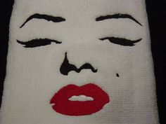 Marilyn Monroe Facial Outline II  Embroidered Terrycloth Hand