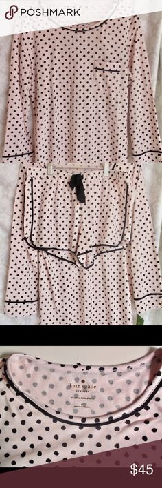 Kate Spade two piece shorts pajamas M NWT Kate Spade two piece shorts pajamas M NWT DETAILS: Cute two piece pajamas  Pink with black polka dots  Scoop Neck top with left upper pocket  Matching shorts with black bow  M  Brand New with Tags MSRP $78.00 Machine Wash Cold Please let me know if you have any questions…. HAPPY to negotiate prices and encourage bundles!! Thank you for visiting my closet! kate spade Intimates & Sleepwear Pajamas