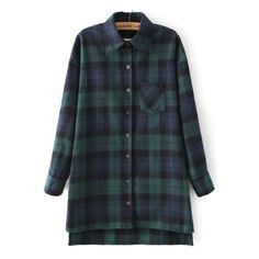 SheIn(sheinside) Green Blue Long Sleeve Plaid Loose Blouse ($15) ❤ liked on Polyvore featuring tops, blouses, shirts, flannel, plaid, green, blue flannel shirt, plaid flannel shirt, green shirt and long sleeve blouse