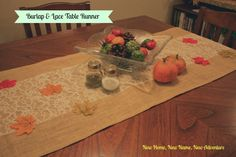 New Home, New Name, New Adventure: Burlap & Lace Table Runner
