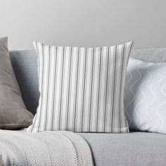 """""""Mattress Ticking Wide Striped Pattern in Charcoal Grey and White"""" Throw Pillow by podartist 