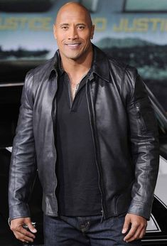 The Rock Dwayne Johnson Black Leather Jacket - Black Leather Jacket Mens The Rock Dwayne Johnson, Real Leather, Leather Men, Black Leather, Leather Coats, Lambskin Leather, Dwyane Johnson, Leather Jackets For Sale, Men's Leather Jacket