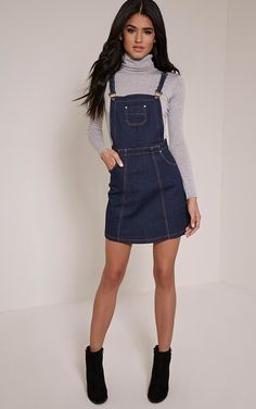 Indigo Blue Denim Pinafore Dress Channel ultra-girly style in this skater skirt pinafore dress. ...