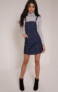 8da0754204c Indigo Blue Denim Pinafore Dress Channel ultra-girly style in this skater  skirt pinafore dress