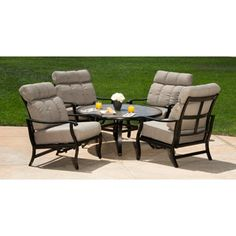 Griffith Park Oversized 5-Piece Patio Conversation Set, Seats 4  Of all the purchases I've made, this one was the most difficult decision.  It's hard to pay this much for something that I have never seen.  Fingers Crossed that it's good quality because it SEEMS to be exactly what I envisioned for the balcony of the lakehouse!