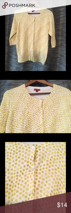 Whimsy polka dot patterned cardigan Super comfy 3/4 sleeve cardigan sweater.  White with dark yellowish/muted gold polka dots.  Dots are different sizes giving it a whimsical feel.  White pearlized buttons and banded are the neck, sleeves and waist.  Worn once. Excellent condition.  All of my items are from a smoke/pet free environment. Merona Sweaters Cardigans