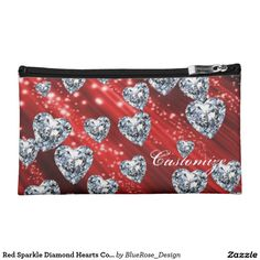 Red Sparkle Diamond Hearts Cosmetics Bag