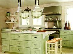 Awesome Green Kitchen Cabinets With White Countertops Outstanding Fresh Kitchen Look With Green Kitchen Cabinets Color And Open Picture Green Kitchen Cabinets With White Countertops Light Green Kitchen, Green Kitchen Walls, Green Kitchen Cabinets, Kitchen Cabinet Styles, Painting Kitchen Cabinets, Kitchen Paint, Kitchen Colors, Kitchen Decor, White Cabinets