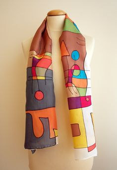 Hand Painted Scarf.Hand Painted Silk Shawl.Birthday Gift.Mother Gift.Silk Art.Woman.Ideas for her.Ooak scarf . Miro style
