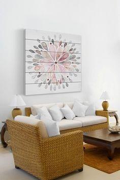 Fading Flower White Pine Wood Wall Art