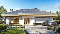 Projekt domu parterowego Uroczy o pow. 146,47 m2 z obszernym garażem, z dachem wielospadowym, z tarasem, z wejściem od południa, z antresolą, sprawdź! House Outside Design, Beach House Decor, Home Decor, Architect House, Modern House Plans, Design Case, House In The Woods, Gazebo, Cottage