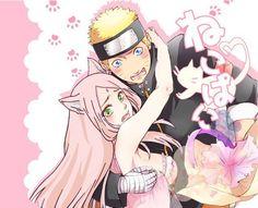 """dreaming-of-sakura: """" """"Nya…? Naruto Minato, Hinata, Naruto Anime, Naruto Cute, Naruto Funny, Kakashi, Sakura Haruno, Sakura And Sasuke, Naruto Family"""