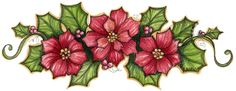 poinsettia and holly Christmas Graphics, Christmas Clipart, Christmas Images, Christmas Printables, Christmas Rock, Christmas Flowers, Christmas Crafts, Xmas, China Painting