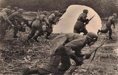German paratroopers land & advance....