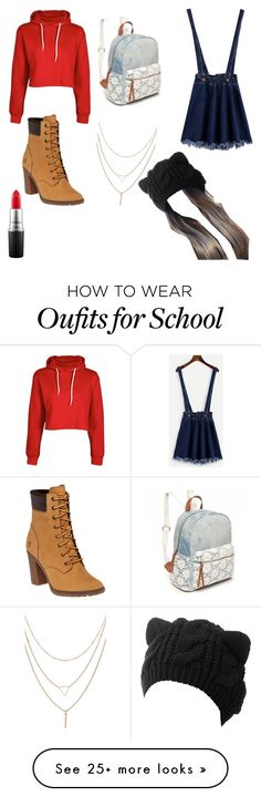 """""""cool for school"""" by rabbitzzfashion on Polyvore featuring Timberland, Boohoo, MAC Cosmetics and Red Camel"""