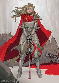 f Paladin Dragon Slayer Plate Armor Cloak Sword midlvl 32 Brilliant Illustrations Of Badass Lady Knights /// These are so cool. Fantasy Character Design, Character Design Inspiration, Character Concept, Character Art, Female Armor, Female Knight, D D Characters, Fantasy Characters, Fairytale Characters