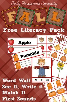 Free Early Learning Pack for Fall! | Only Passionate Curiosity