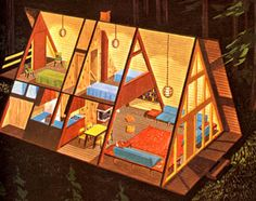 A-Frame House Illustration My dream is to own a a frame lake house. Casas Containers, House Illustration, Cabins And Cottages, Small House Design, Cabin Homes, Prefab Homes, Cabins In The Woods, Little Houses, Small Houses