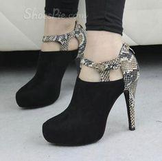 Sexy Black Matching Snakeskin Platform Ankle Boots