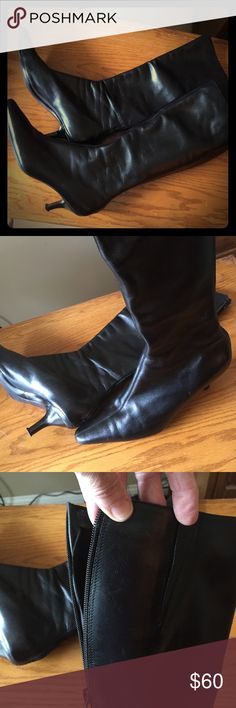 Ann Taylor blk all LEATHER kitten heel boots. Easy to get on. Zips in the back plus has an  elastic dart for comfort. Dressy kitten heels plus comfort!!! FITS LIKE A SIZE 8 LOFT Shoes Heeled Boots