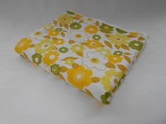 vintage fabric retro flower power flat double bed sheet in yellows and green unused nos