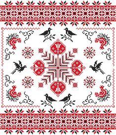 Flower Cross Stitch Pattern Red and Black Sampler Blackbirds Chickens PDF Cross Stitch Bird, Cross Stitch Samplers, Cross Stitch Charts, Cross Stitching, Cross Stitch Patterns, Folk Embroidery, Ribbon Embroidery, Cross Stitch Embroidery, Embroidery Patterns
