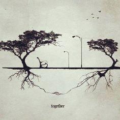 Tudo está conectado pela estrutura do próprio espaço, mesmo que não seja aparente para nós na superfície... Descrição: A imagem em preto e branco com recurso artístico remete a foto envelhecida. Ela é dividida horizontalmente ao meio por um gramado. Nas laterais, duas árvores, uma de cada lado: a da esquerda é maior com tronco bifurcado levemente inclinado à esquerda e ramos que desabrocham em duas copas compostas por folhas pequenas. À direita, a árvore é da mesma espécie, porém mais baixa…