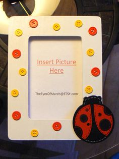 LADYBUG Button Picture Frame Baby Shower or by theeyesofmarch, $12.00