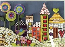 Mosaic happy landscape with inserts Mosaic Art, Mosaics, Fused Glass Art, Advent Calendar, Clay, Holiday Decor, Happy, Image, Landscapes