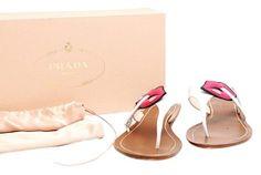 6b1c046e4 Prada White Pink Grey Smoking Lips Sandal - - Flats Size US 8.5 Regular (M