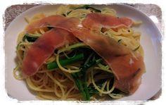 水菜とかき菜の生ハムのスパゲッティ