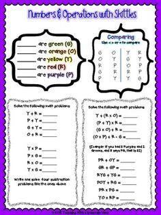 SKITTLES MATH PRINTABLES FOR THE UPPER GRADES *17 PAGES OF ACTIVITIES* - TeachersPayTeachers.com
