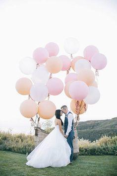 """Need ideas for your wedding photoshoot! Jumbo 36"""" balloons by Blush Bazaar on sale NOW! #balloons #weddingphotography #weddingdecor #photobooth"""