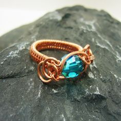 Copper and Teal Crystal Wire Ring - Kiwi Chick Creations