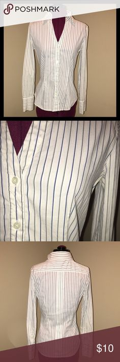 Express Blue & Gray Pinstripe Shirt Collared shirt with blue and gray pinstripes.  Size small.  Gently used. Express Tops Button Down Shirts