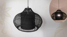 Suspension en bambou noir style exotique Ø 48 cm