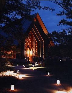 Marjorie Powell Allen Chapel at night by Powell Gardens, Kansas City's botanical garden, via Flickr