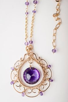 Huge Flawless Amethyst and Intricate Gold Filigree by mosaicdesign, $485.00